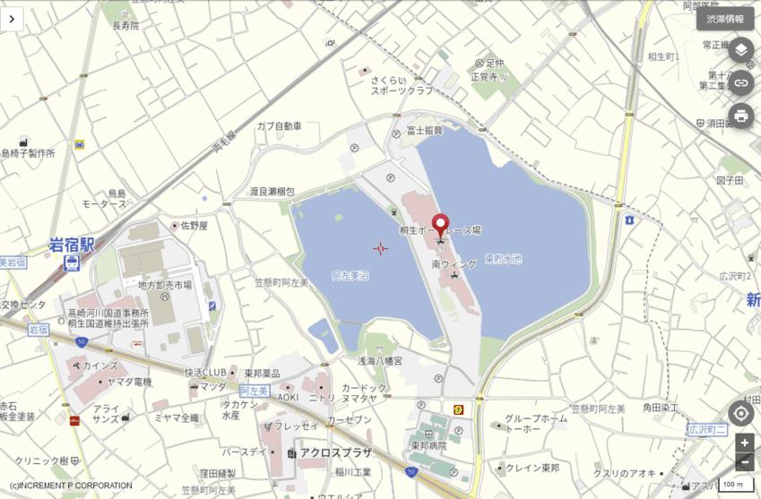 ボートレース桐生アクセス地図
