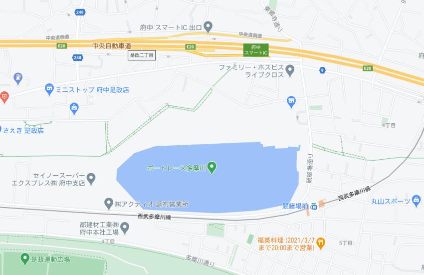 多摩川競艇場の地図