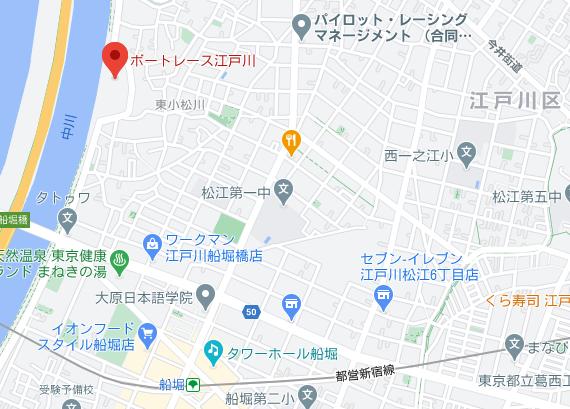 江戸川競艇場への地図