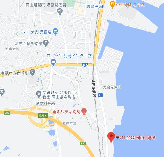 児島競艇場までの地図
